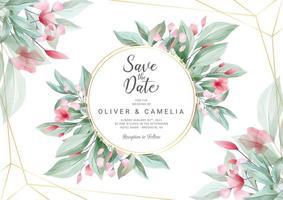 Horisontell bröllop inbjudningskortsmall vektor