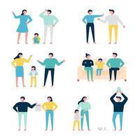 Uppsättning av familjetecken som slåss och grälar med varandra. vektor