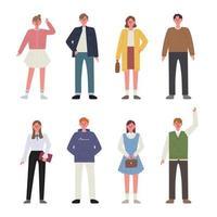 Uppsättning av karaktärer för män och kvinnor som bär vårkläder. vektor