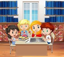 Studenter som läser böcker i biblioteket