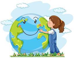 Ein Mädchen umarmt die Erde vektor