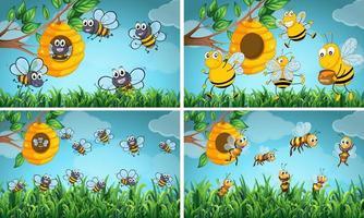 Scener med bin och bikupa vektor