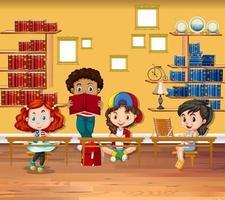 Barn som läser böcker i klassrummet