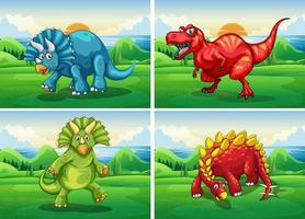 Fyra dinosaurier som står i fältet