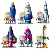 Upptäcktsresande bredvid raketerna