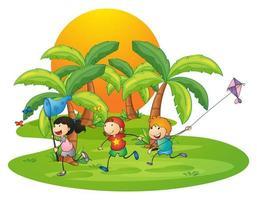 Kinder spielen auf der Insel in der Nähe der Palmen vektor