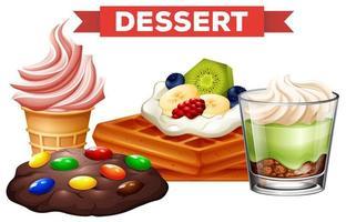 Olika desserter på vit bakgrund vektor