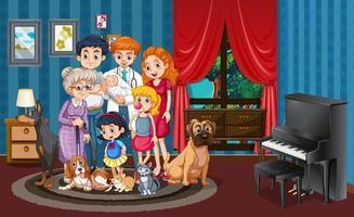 Bild av familjen i huset vektor