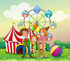 Eine Familie beim Karneval vektor