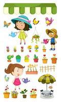 Kinder gießen die Pflanzen