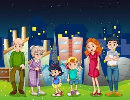 En familj i staden som står framför de höga byggnaderna vektor