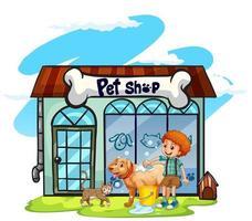 Waschender Hund des Jungen am Geschäft für Haustiere