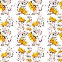 Sömlös mus med ost vektor