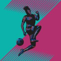 fußball jump kick popart