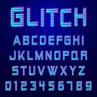 Alfabetsteckensnitt glitch effekt design