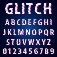 Uppsättning bokstäver och siffror glitch effekt design