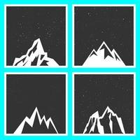 Bergsilhuett för klistermärken, märken, frimärken och etiketter