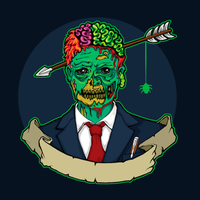 Zombie manager med pilen i huvudet