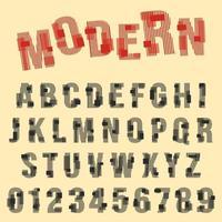 Modernes Schriftartalphabet. Reihe von Buchstaben und Zahlen Liniendesign vektor