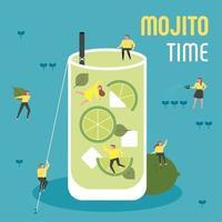 Kleine Leute trinken riesigen Mojito. vektor