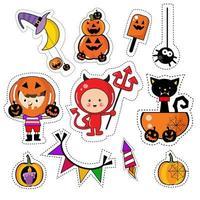 Halloween Ikon Klistermärke Patches Set vektor