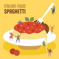 Små människor äter enorm italiensk spaghetti.