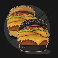 Två hamburgare svartvita vektor
