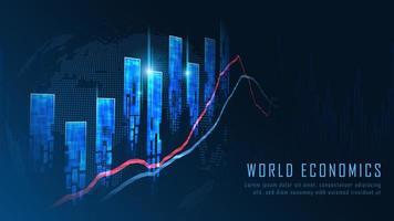 Aktiemarknad eller valutahandel graf koncept