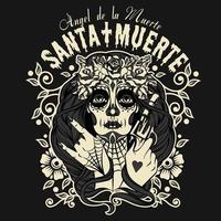 Santa Muertos Halloween T-shirttryck vektor