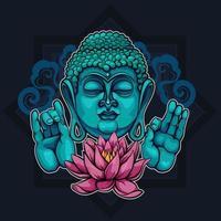 Zeigt Buddha Sutra und den Lotus vektor