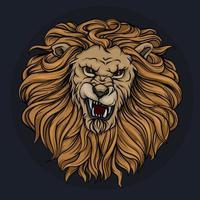 Huvudet av ett brusande lejon med en man