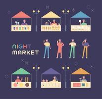 Olika butiker och gäster på loppmarknaden.