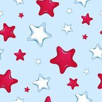 Sömlös vektormönster av röda och vita stjärnor i tecknad film vektor