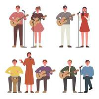 Die Leute spielen Gitarre und singen. Busking Mitglieder.