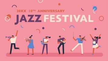 Jazzfestivalaffisch på rosa bakgrund.