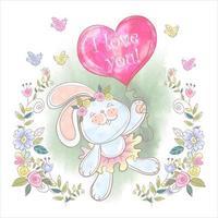 Söt kanin med en jag älskar dig ballong i akvarell design vektor