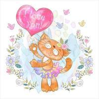 Söt kattunge med en ballong i form av ett hjärta. Jag älskar dig.
