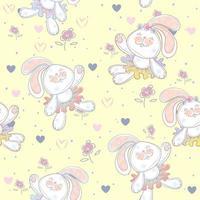 Seamless mönster med söta kaniner ballerinor vektor