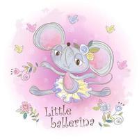Eine kleine Ballerinamaus im Aquarell