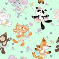 Nahtloses Muster mit tanzenden Tieren. Kitty Fox Maus Bär und Hase.