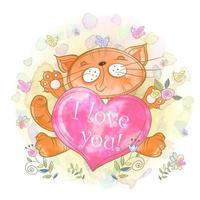 Nettes Kätzchen mit einem Herzen. Ich liebe dich.
