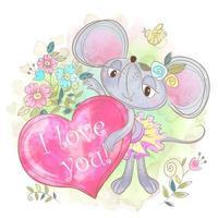 Söt musflicka med ett stort hjärta. Jag älskar dig. vektor
