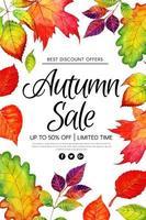 Schönes Aquarell-Herbstlaub-Verkaufsplakat