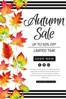 Vacker akvarell Autumn Leaves Sale affisch