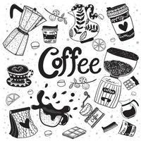 Gekritzelkaffeeausrüstungshand, die flaches Element zeichnet