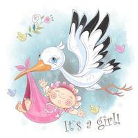 Stork flyger med flickan. Baby dusch. Vykort för födelse av ett barn. Vattenfärg