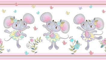Nahtlose Grenze. Lustige kleine Mäuse tanzen.