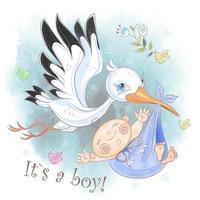 Stork flyger med pojken. Baby dusch. Vykort för födelse av ett barn. Vattenfärg