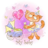Mamma katt med en baby i en barnvagn. Min älskling. Baby dusch. Vattenfärg