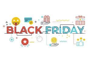 Schwarze Freitag-Wortbeschriftungsillustration